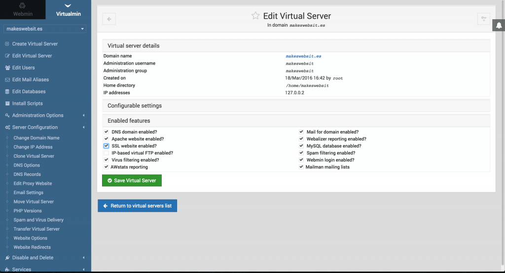 Getting Https Working With Lets Encrypt And Virtualmin Bensinger